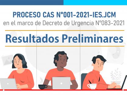 PUBLICACIÓN DE RESULTADOS PRELIMINARES - PROCESO CAS N°001-2021-IES.JCM